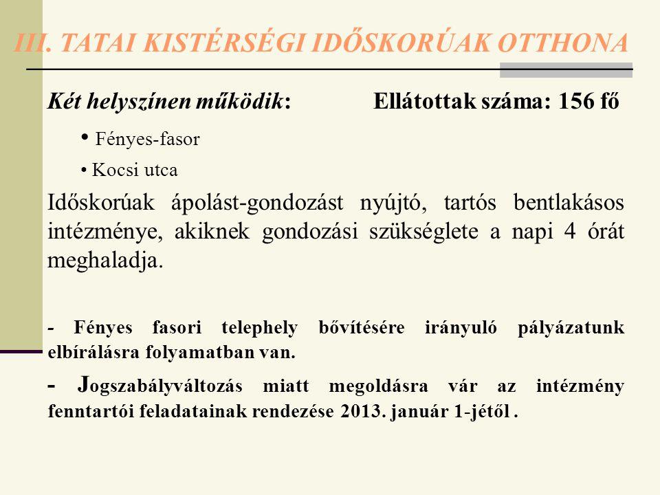 III. TATAI KISTÉRSÉGI IDŐSKORÚAK OTTHONA