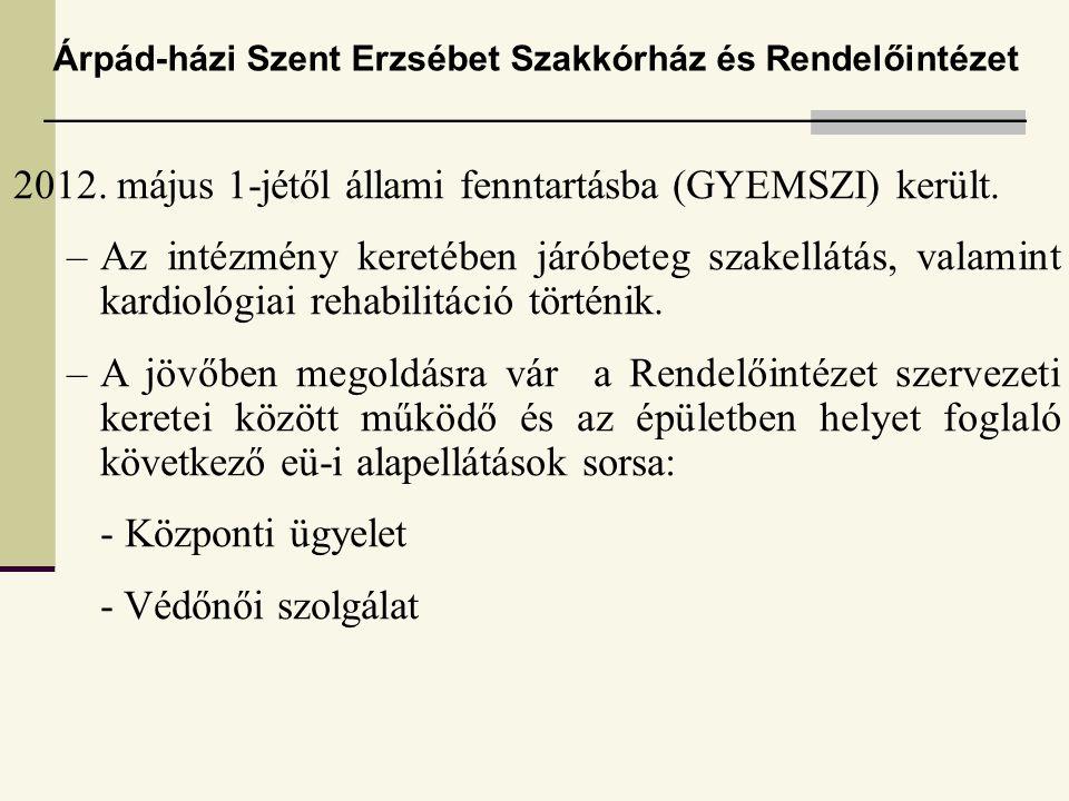 2012. május 1-jétől állami fenntartásba (GYEMSZI) került.