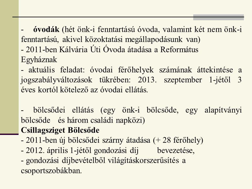 -. óvodák (hét önk-i fenntartású óvoda, valamint két nem önk-i