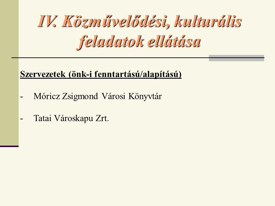 IV. Közművelődési, kulturális feladatok ellátása