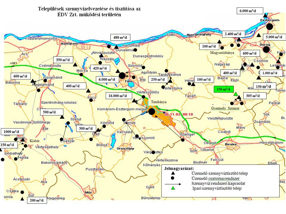 47 település Több mint 87 ezer csatorna bekötés Napi szennyvíztisztító kapacitás: 42.350 m3/d