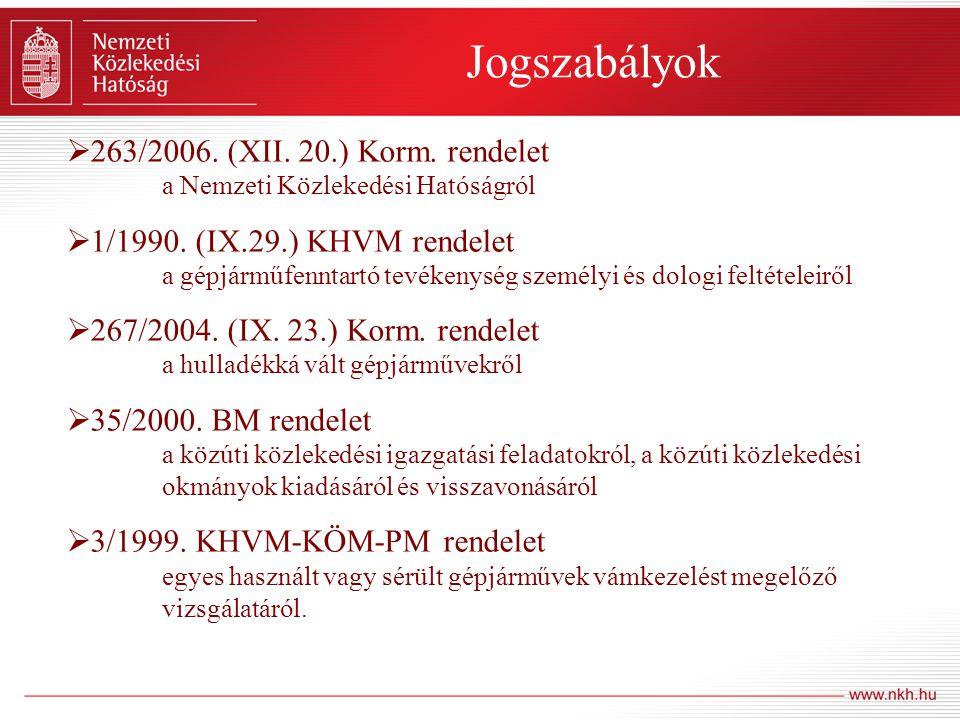 Jogszabályok 263/2006. (XII. 20.) Korm. rendelet a Nemzeti Közlekedési Hatóságról.