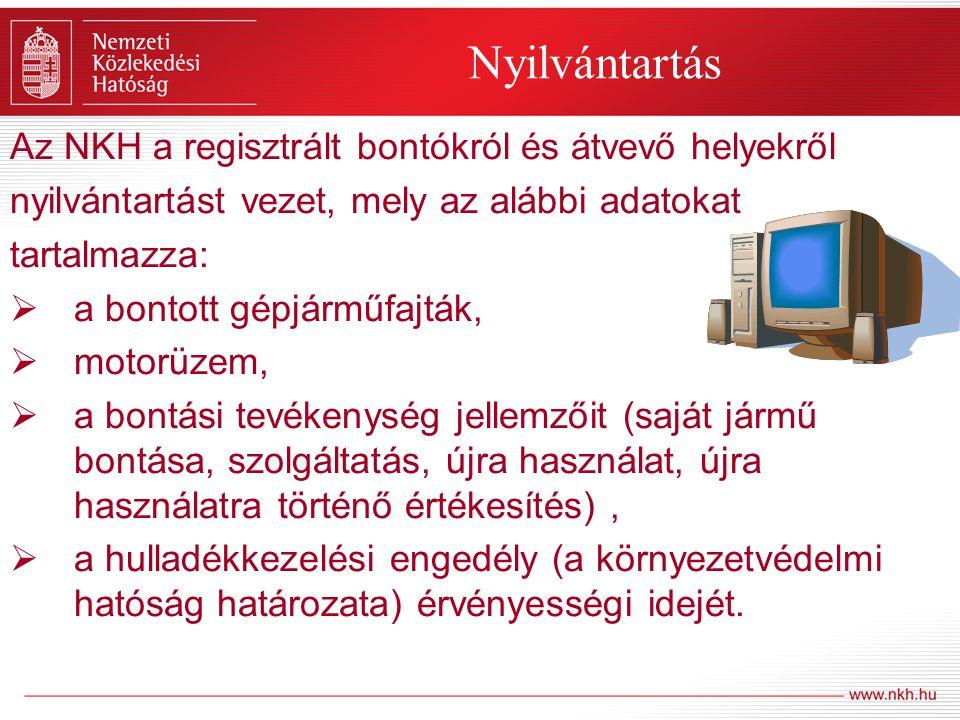 Nyilvántartás Az NKH a regisztrált bontókról és átvevő helyekről