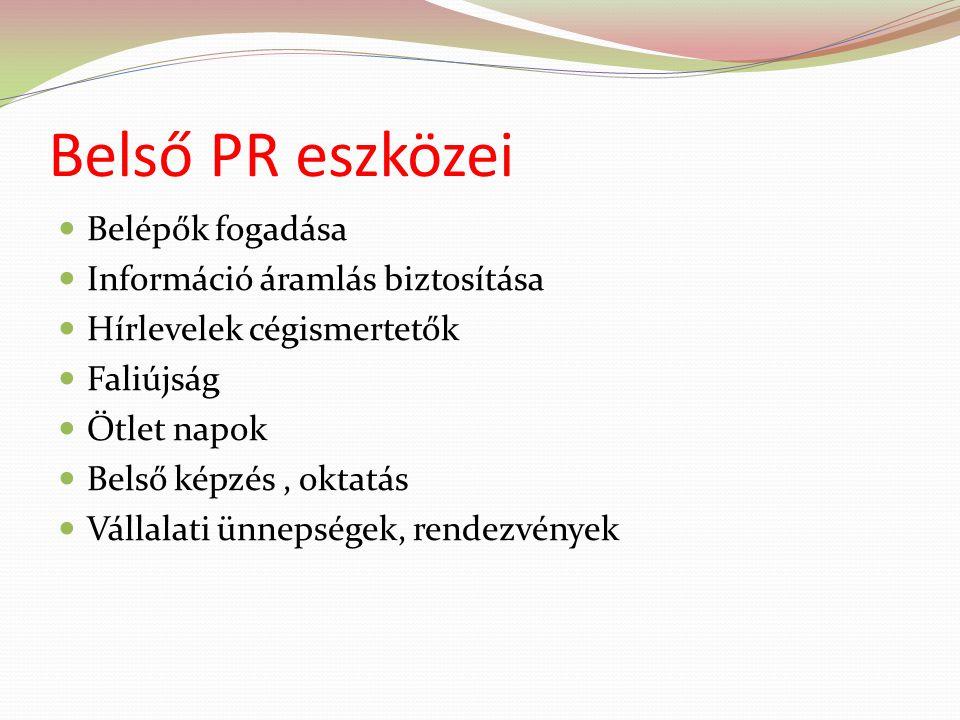 Belső PR eszközei Belépők fogadása Információ áramlás biztosítása