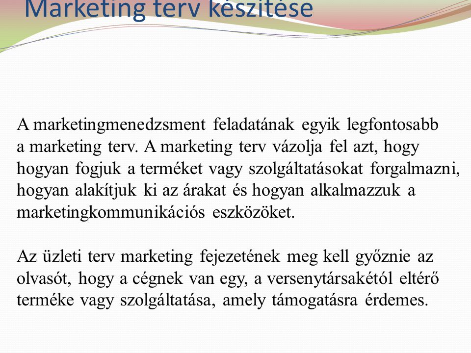 Marketing terv készítése