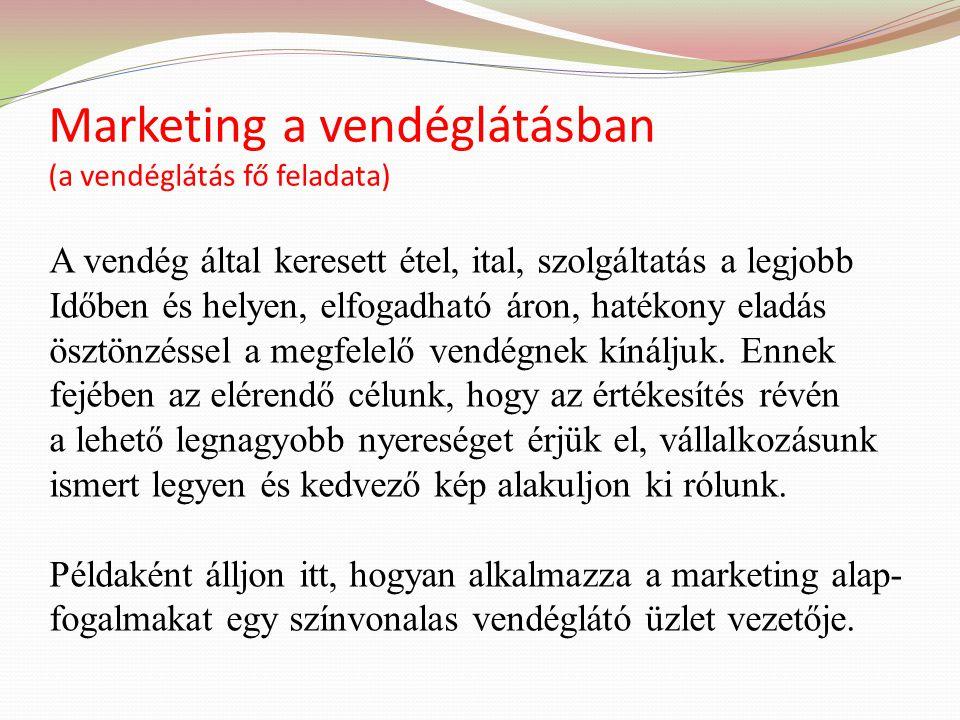 Marketing a vendéglátásban (a vendéglátás fő feladata)