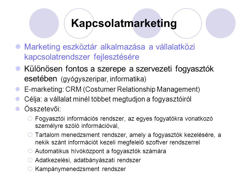 Kapcsolatmarketing Marketing eszköztár alkalmazása a vállalatközi kapcsolatrendszer fejlesztésére.
