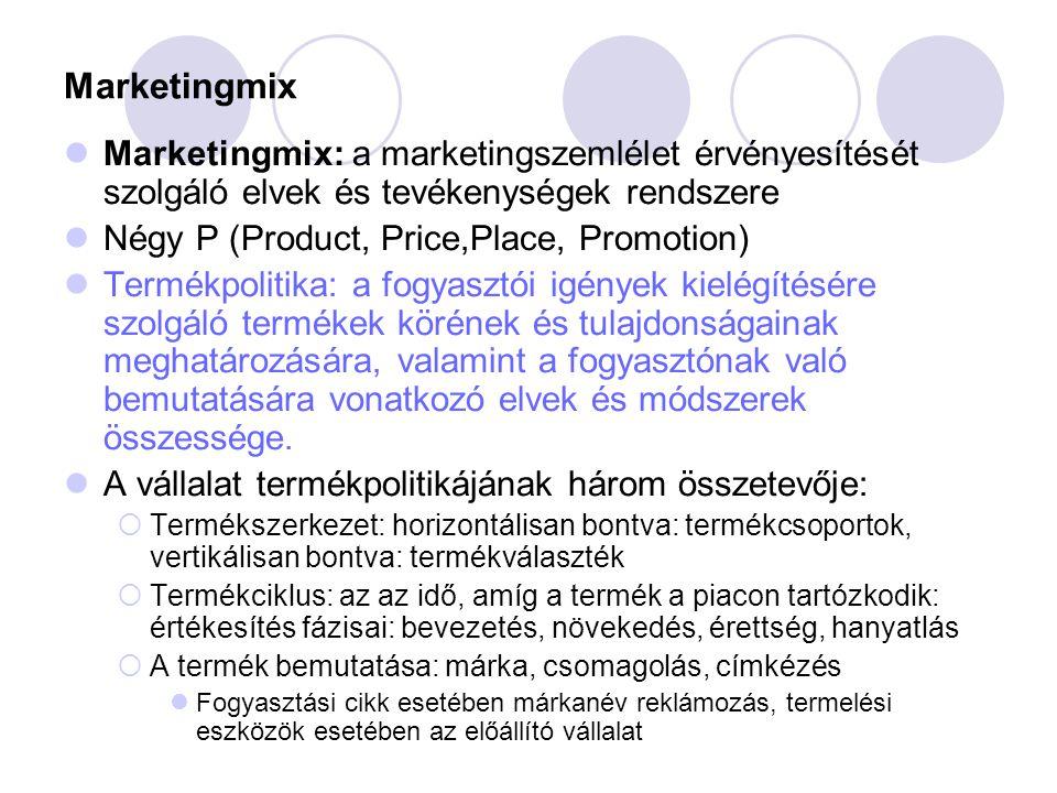 Marketingmix Marketingmix: a marketingszemlélet érvényesítését szolgáló elvek és tevékenységek rendszere.