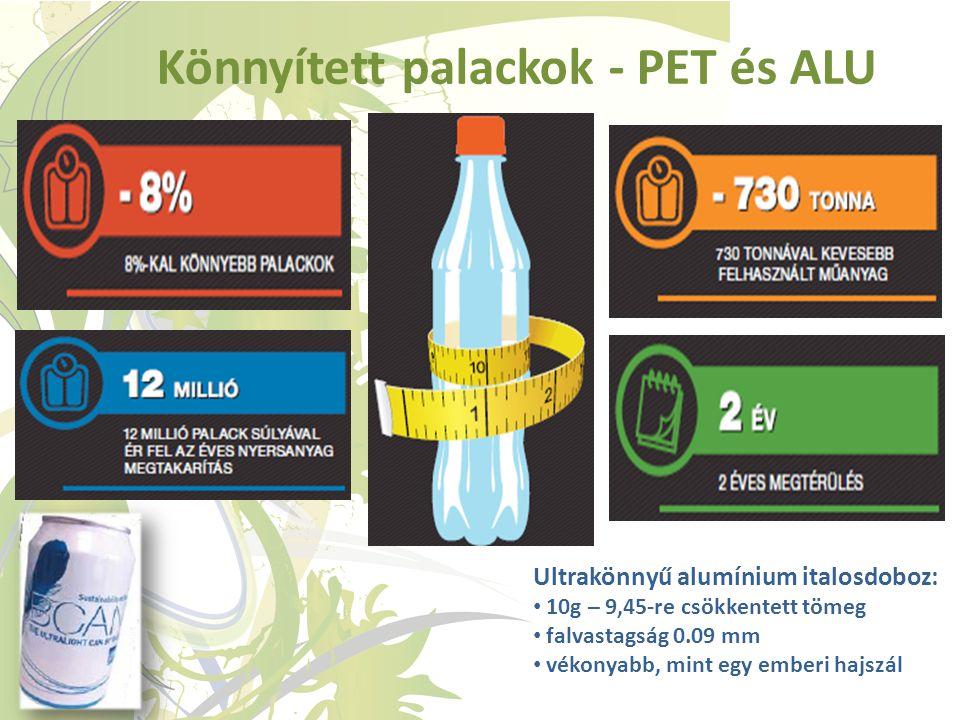 Könnyített palackok - PET és ALU