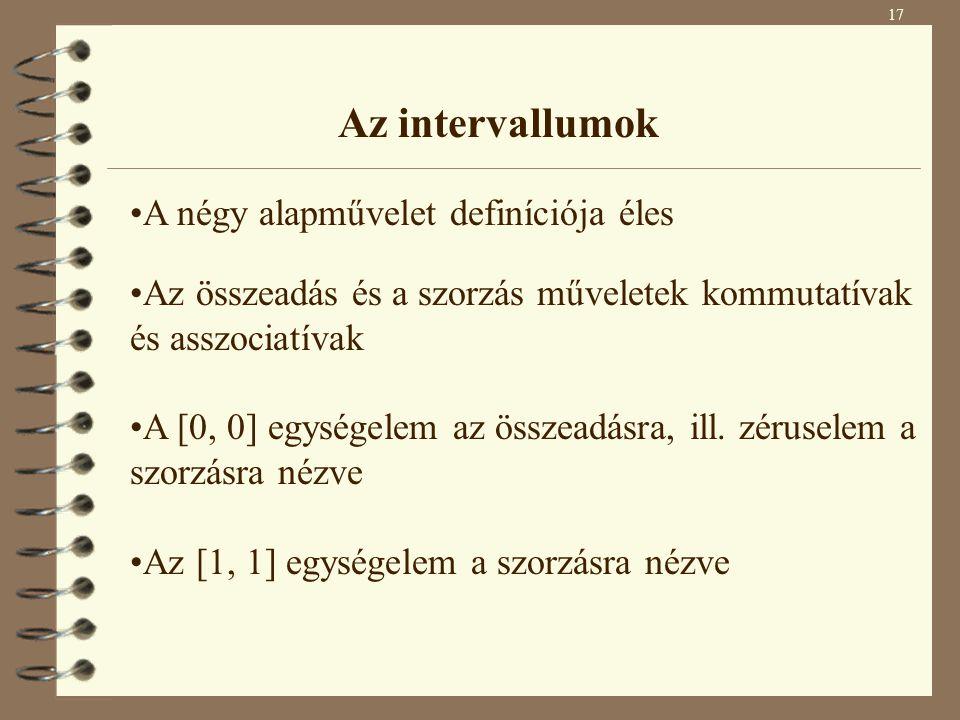 Az intervallumok A négy alapművelet definíciója éles