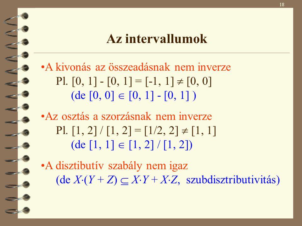 Az intervallumok A kivonás az összeadásnak nem inverze