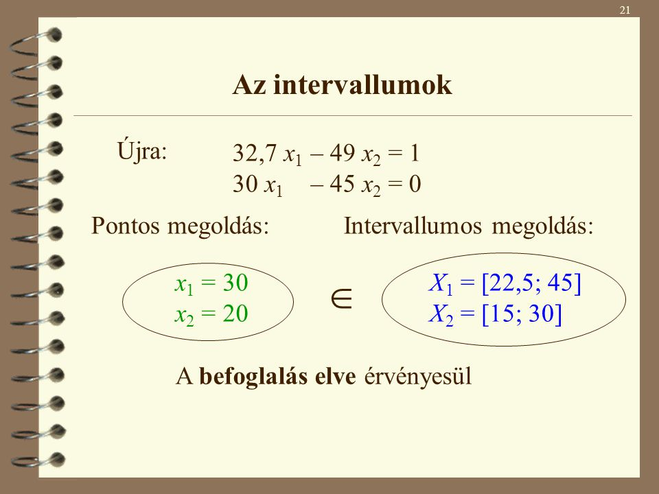  Az intervallumok Újra: 32,7 x1 – 49 x2 = 1 30 x1 – 45 x2 = 0