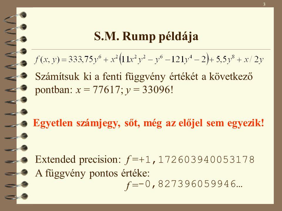 3 S.M. Rump példája. Számítsuk ki a fenti függvény értékét a következő pontban: x = 77617; y = 33096!