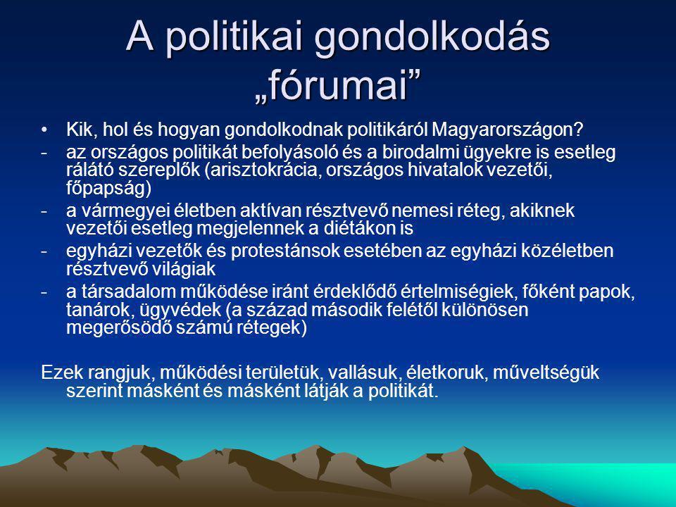 """A politikai gondolkodás """"fórumai"""