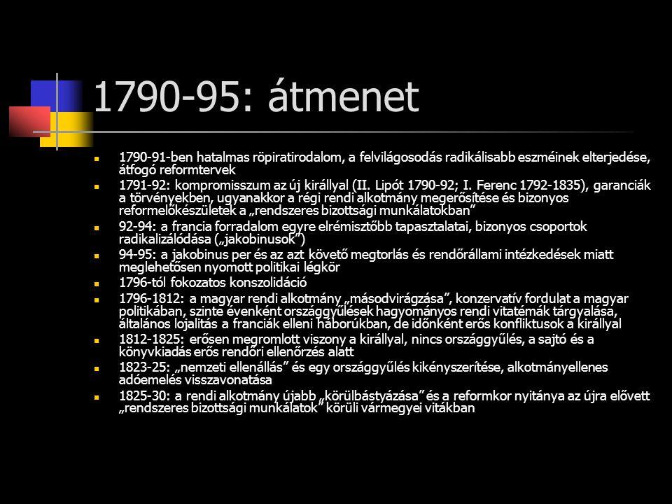 1790-95: átmenet 1790-91-ben hatalmas röpiratirodalom, a felvilágosodás radikálisabb eszméinek elterjedése, átfogó reformtervek.