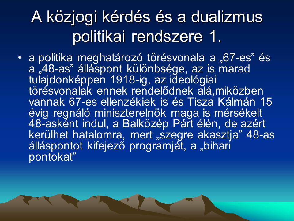 A közjogi kérdés és a dualizmus politikai rendszere 1.