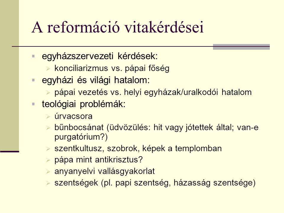 A reformáció vitakérdései