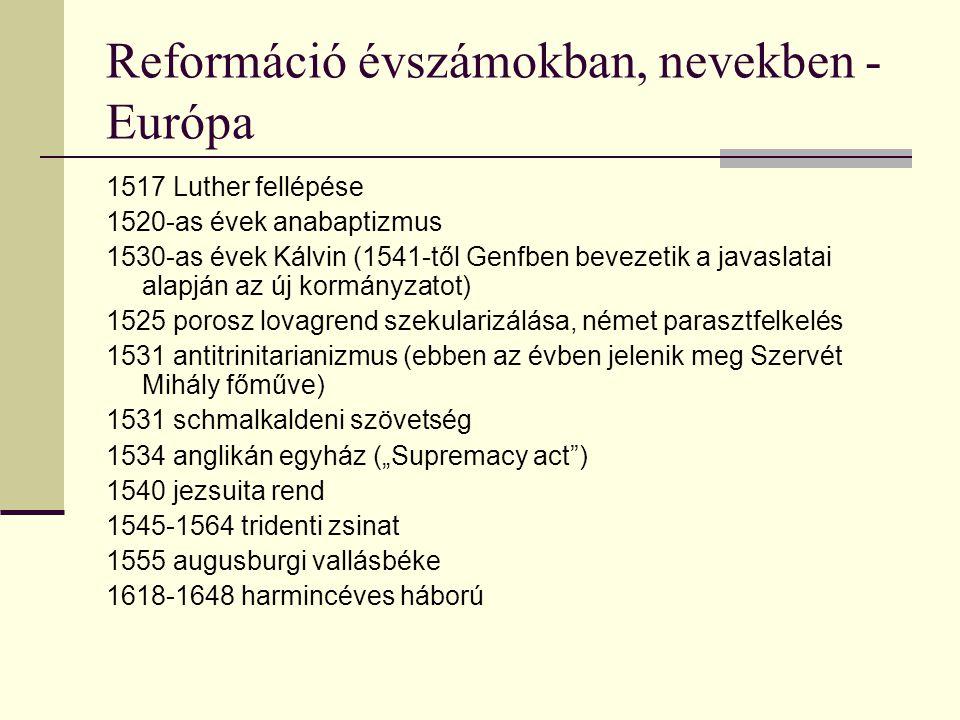 Reformáció évszámokban, nevekben - Európa