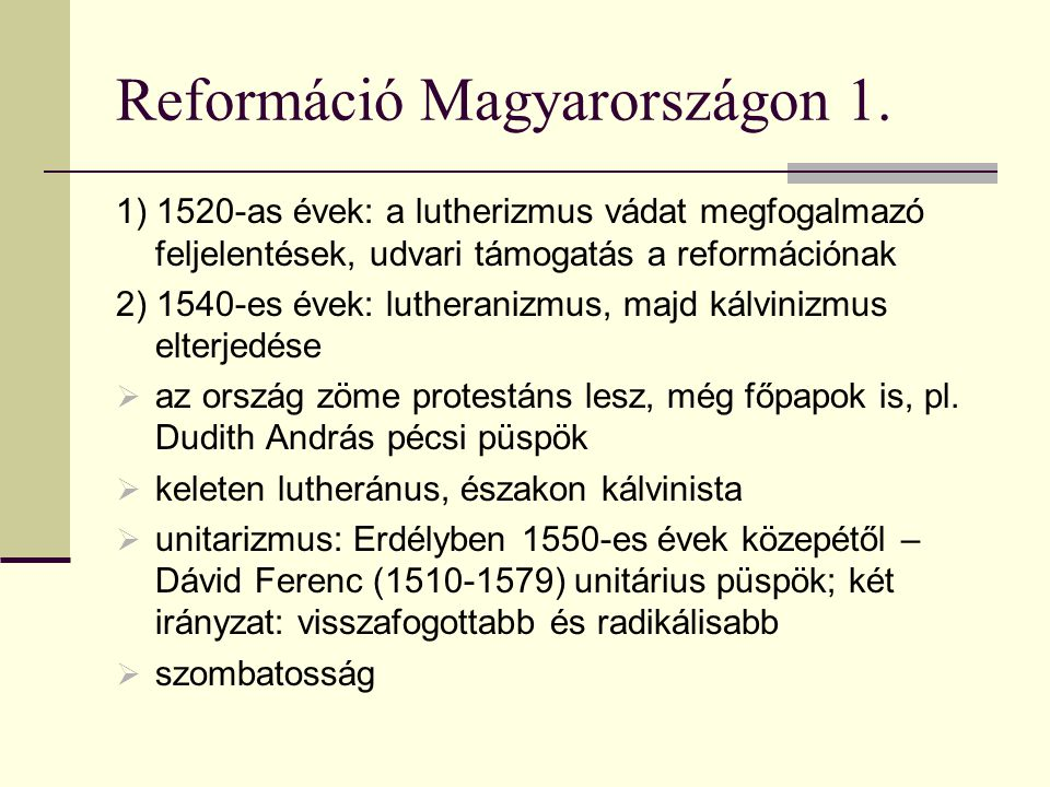 Reformáció Magyarországon 1.