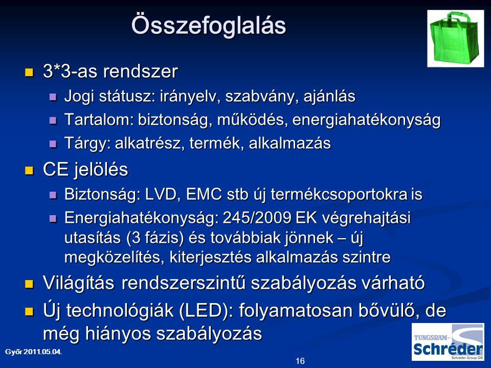 Összefoglalás 3*3-as rendszer CE jelölés