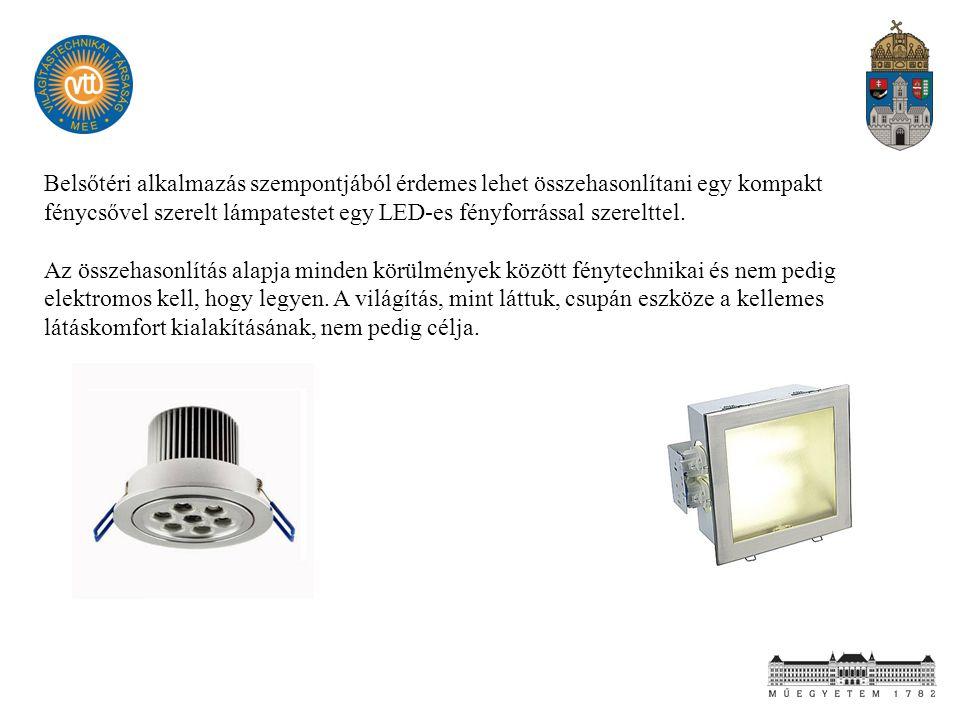 Belsőtéri alkalmazás szempontjából érdemes lehet összehasonlítani egy kompakt fénycsővel szerelt lámpatestet egy LED-es fényforrással szerelttel.