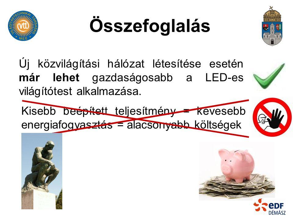 Összefoglalás Új közvilágítási hálózat létesítése esetén már lehet gazdaságosabb a LED-es világítótest alkalmazása.