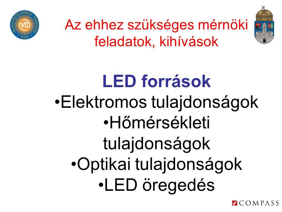 Az ehhez szükséges mérnöki feladatok, kihívások LED források •Elektromos tulajdonságok •Hőmérsékleti tulajdonságok •Optikai tulajdonságok •LED öregedés