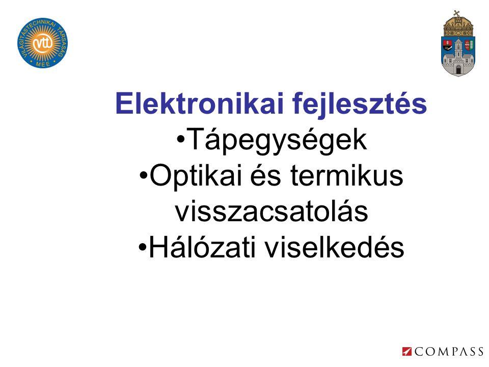 Elektronikai fejlesztés •Tápegységek •Optikai és termikus visszacsatolás •Hálózati viselkedés