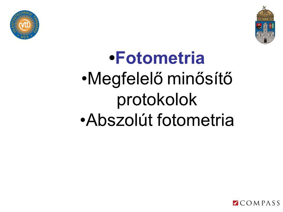 •Fotometria •Megfelelő minősítő protokolok •Abszolút fotometria