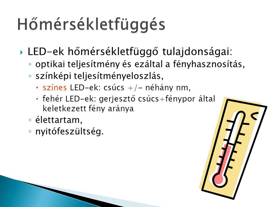 Hőmérsékletfüggés LED-ek hőmérsékletfüggő tulajdonságai: