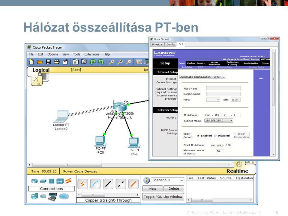 Hálózat összeállítása PT-ben