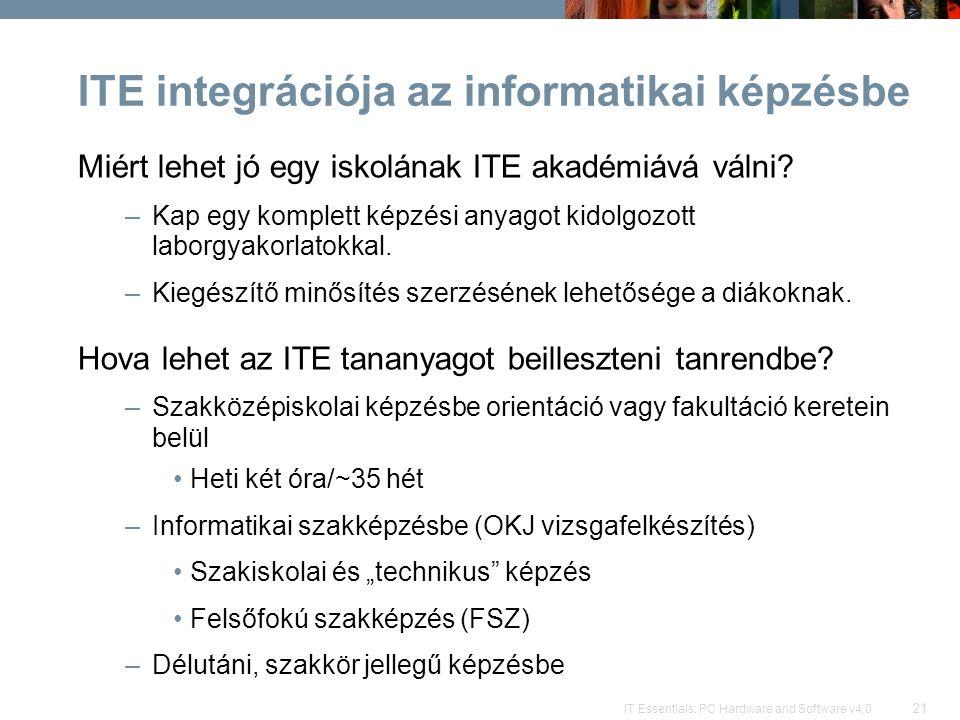 ITE integrációja az informatikai képzésbe