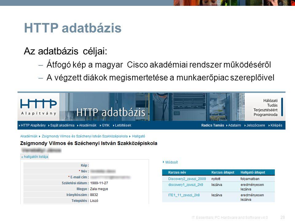 HTTP adatbázis Az adatbázis céljai: