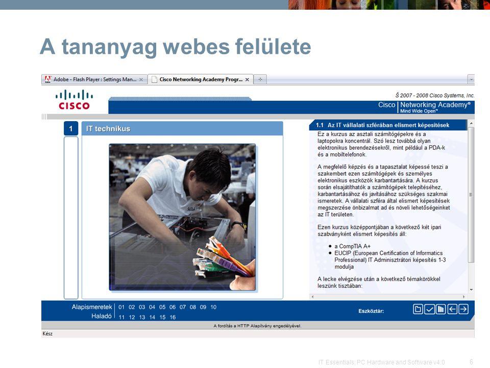 A tananyag webes felülete