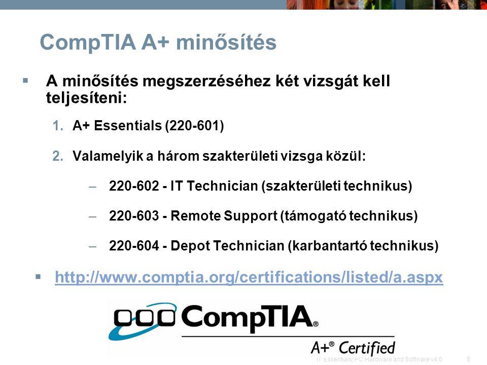 CompTIA A+ minősítés A minősítés megszerzéséhez két vizsgát kell teljesíteni: A+ Essentials (220-601)