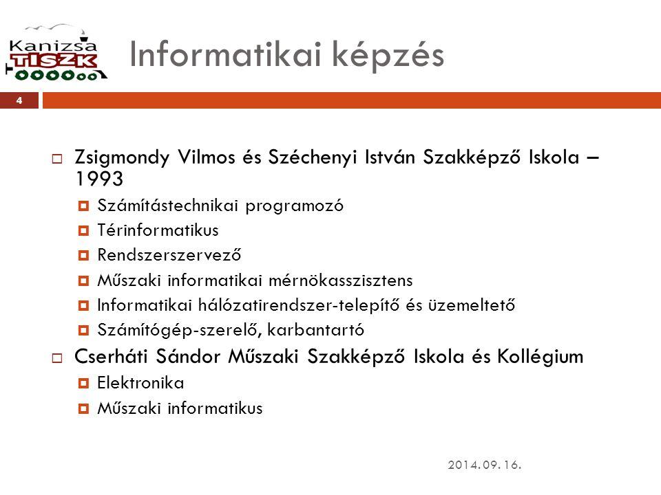 Informatikai képzés Zsigmondy Vilmos és Széchenyi István Szakképző Iskola – 1993. Számítástechnikai programozó.