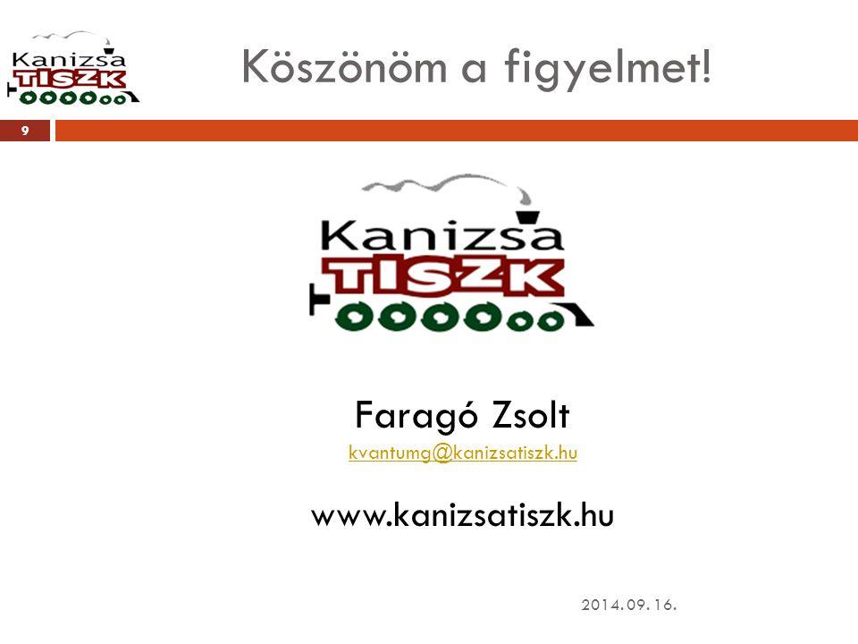 Köszönöm a figyelmet! Faragó Zsolt www.kanizsatiszk.hu