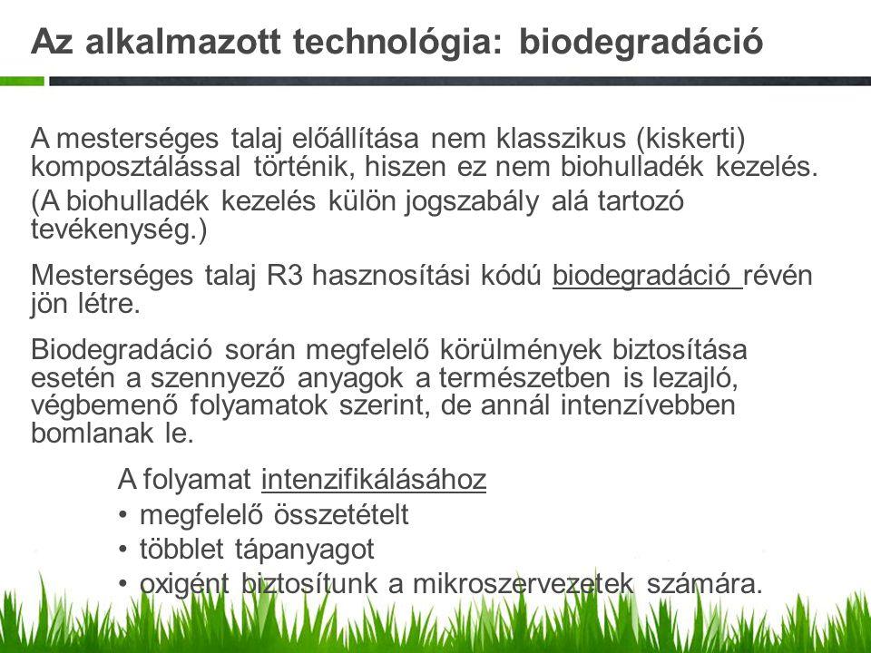 Az alkalmazott technológia: biodegradáció