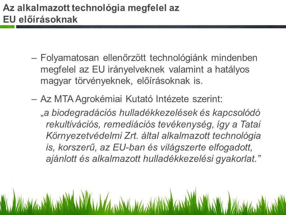 Az alkalmazott technológia megfelel az EU előírásoknak