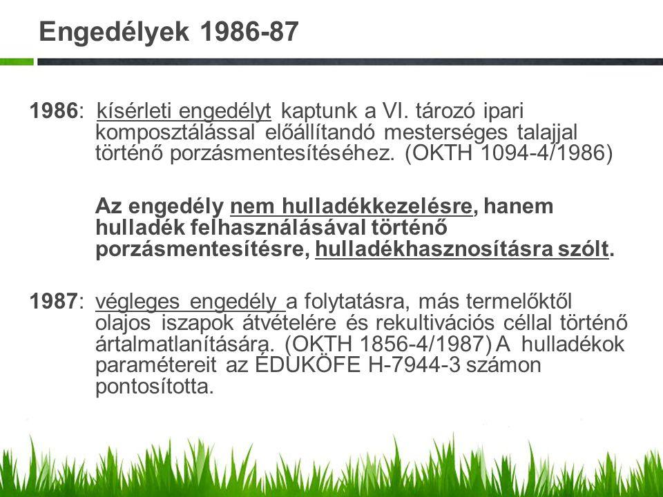 Engedélyek 1986-87