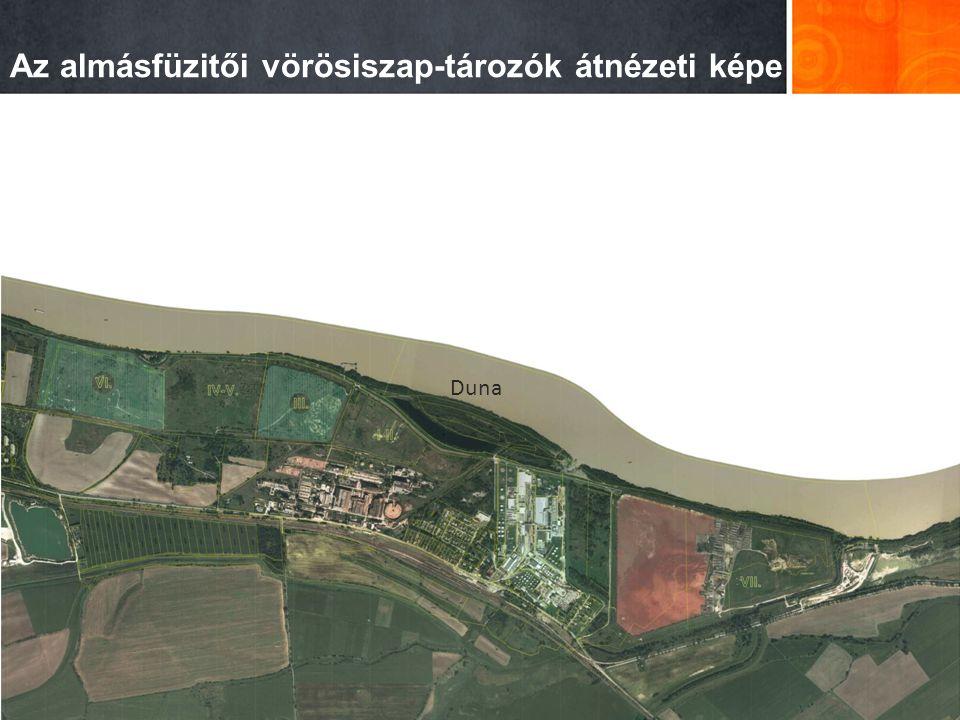 Az almásfüzitői vörösiszap-tározók átnézeti képe