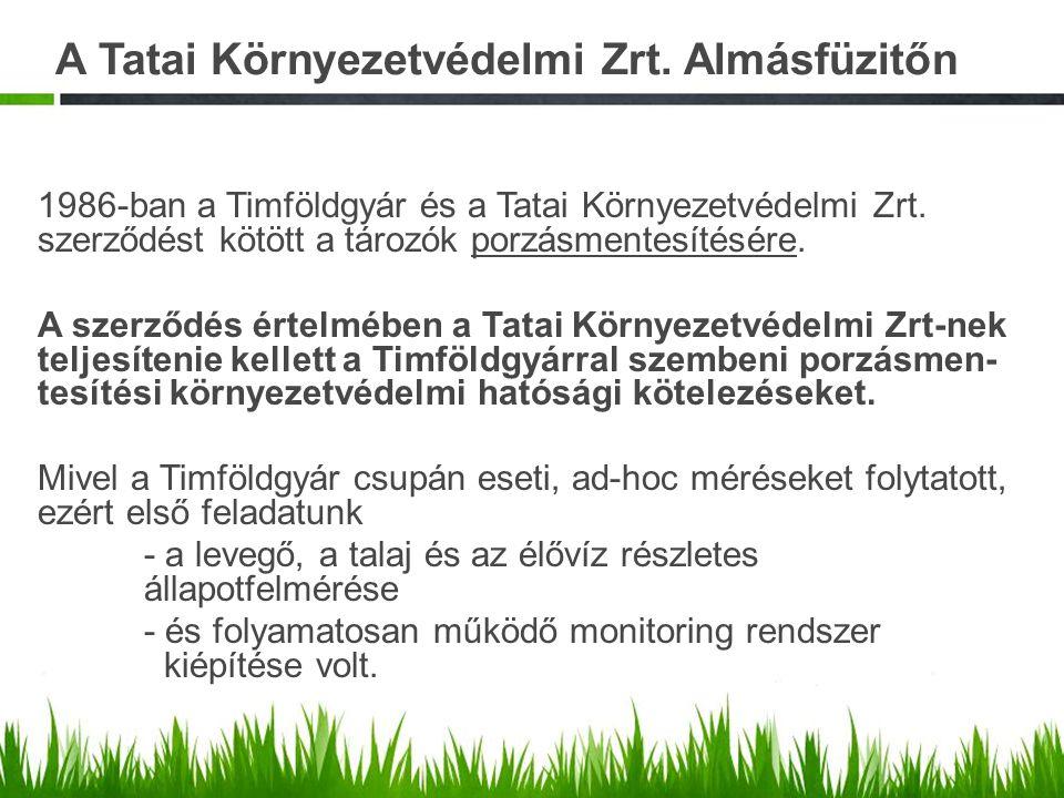 A Tatai Környezetvédelmi Zrt. Almásfüzitőn