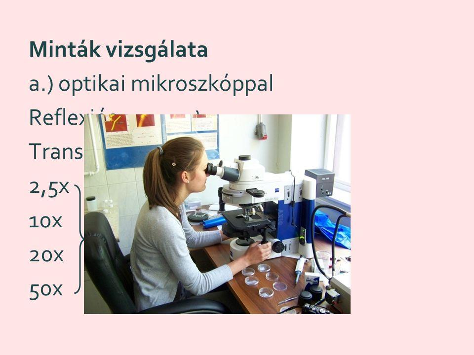 a.) optikai mikroszkóppal Reflexiós Transzmissziós 2,5x 10x 20x 50x