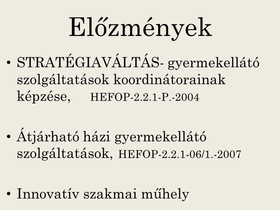 Előzmények STRATÉGIAVÁLTÁS- gyermekellátó szolgáltatások koordinátorainak képzése, HEFOP-2.2.1-P.-2004.
