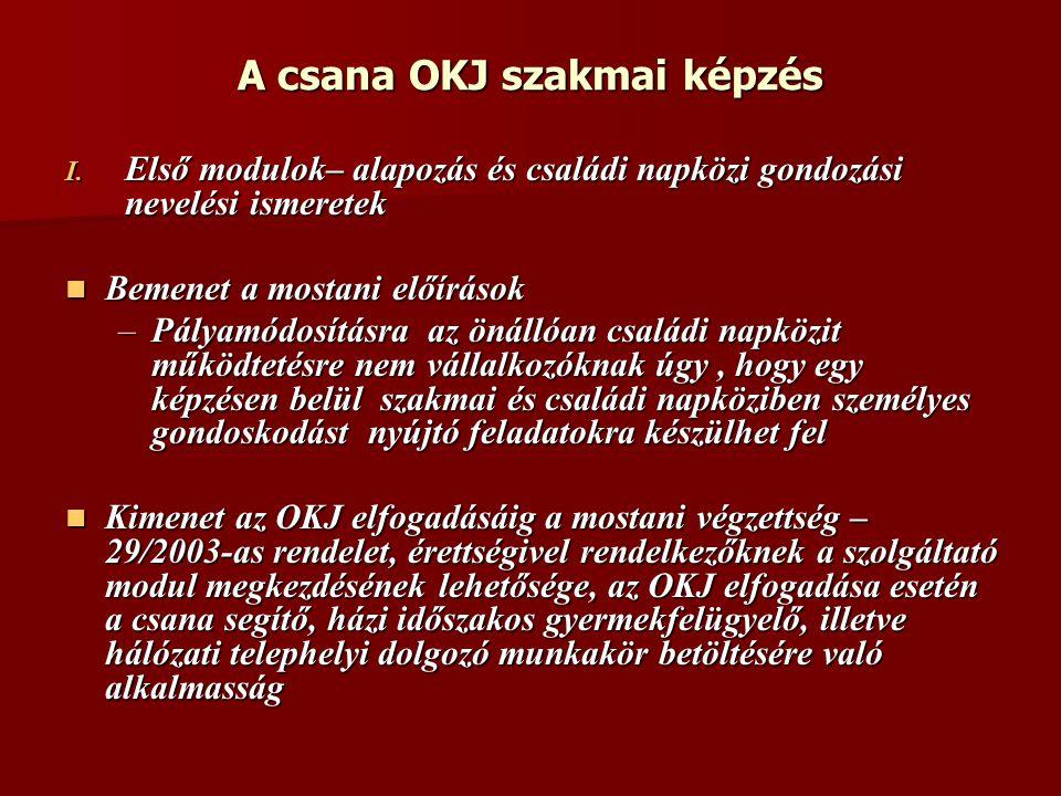 A csana OKJ szakmai képzés