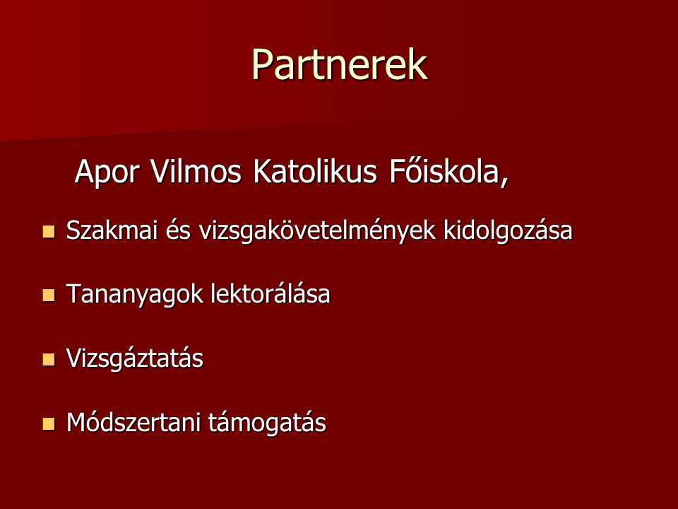 Partnerek Apor Vilmos Katolikus Főiskola,