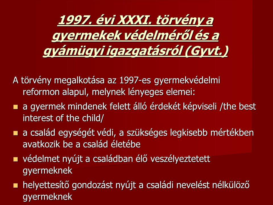 1997. évi XXXI. törvény a gyermekek védelméről és a gyámügyi igazgatásról (Gyvt.)