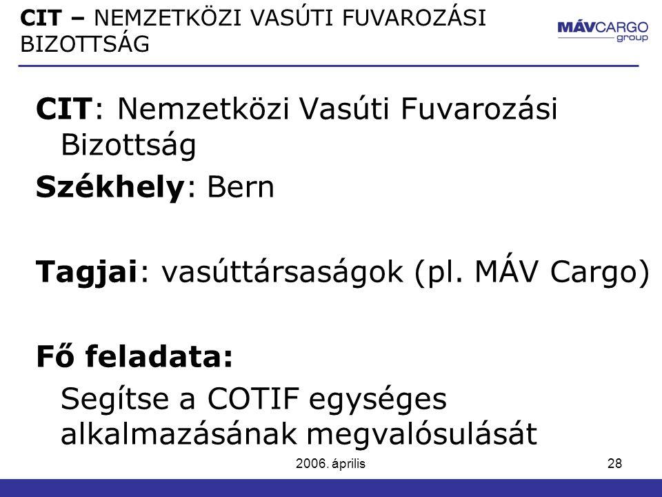 CIT: Nemzetközi Vasúti Fuvarozási Bizottság Székhely: Bern