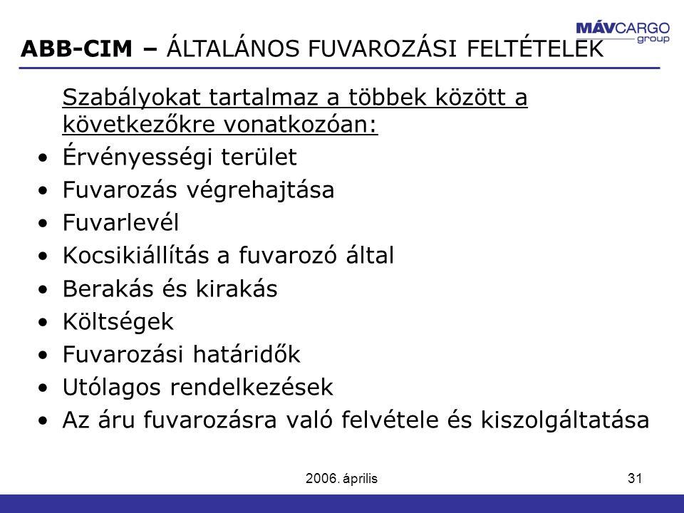 ABB-CIM – ÁLTALÁNOS FUVAROZÁSI FELTÉTELEK