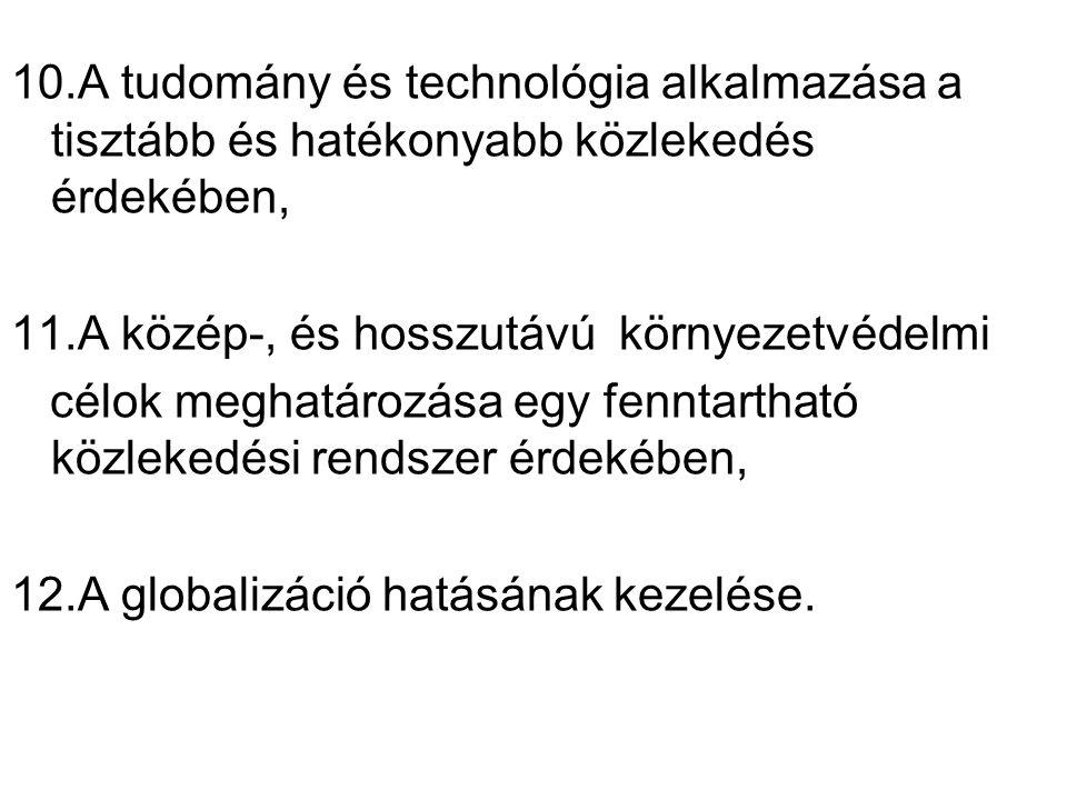 10.A tudomány és technológia alkalmazása a tisztább és hatékonyabb közlekedés érdekében, 11.A közép-, és hosszutávú környezetvédelmi.